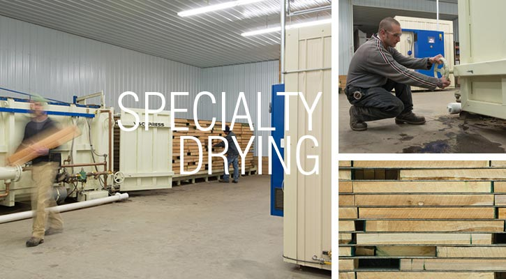 Specialty lumber drying with our state of the art vacuum and dehumidification kilns.